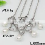Fascinating hawaii flower and pearl design steel color necklace lei