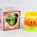 high quality colorful plastic rainbow spring with smile face/magic rainbow circle