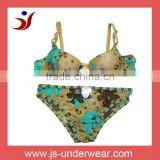 Newest Fashion Nylon Bikini bra and panty set with flower logo (accept OEM) newest bikini set