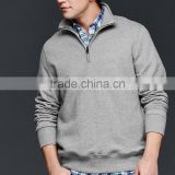 High quality crew neck 100%cotton long sleeve quarter zip sweatshirt