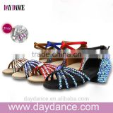 Children Kid Rhinestone Low Heel Modern Shoes Girls diamond Ballroom Latin Dance Shoes
