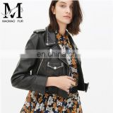 Genuine Cheap Ladies Leather Jacket For Girls Black Color Cool Style Fancy Leather Jacket