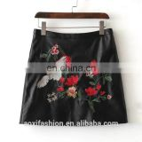 OEM sevice China manufacturers the black floral embroidery PU tight leather pencil skirt