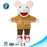 ICTI standard cartoon cute kids baby toy soft stuffed plush mouse doll toy hand glove puppet