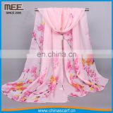 2017 freshness pink one layer peach blossom print cheap promotional scarf