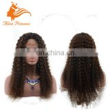 Best Selling Good Quality Popular Ombre Color Glueless Human Brazilian Hair Front Lace Wig Kinky Curly Full Lace Virgin Wig