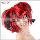 short black and red synthetic ponytail halloween wigs