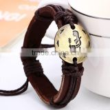 Newest style fashion 12 zodiac signs antique silver brown leather bracelet