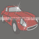 Beautiful red Car rhinestone motif hotfix transfer for clothes sticker