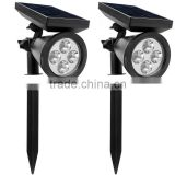 Waterproof 4 LED Solar Spotlight Adjustable Landscape Light Security Lighting Dark Sensing Auto On/Off                                                                         Quality Choice