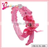 Global selling new design factory wholesale polyester ribbon bow butterfly hairband with rhinestone (TK1-0989)