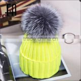 wholesale winter fox fur ball rib knit hat /rib knit hat with fur bobble