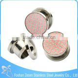 Stainless steel twinkling paper stick screw fit ear plug adhesive body jewelry