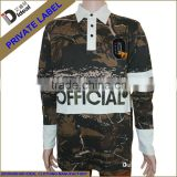 Heavy cotton long sleeve chenille patch custom camo football jersey