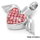 New Products 2016 Heart Shape with Red Gems Stones Angel Wings Silver Cremation Stainless Steel Pendant Jewelry