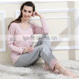 Cotton Pyjamas Ladies Classic Stripe Women Cotton Pajamas set Round Neck Plus size Sleepwear Suit