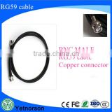 Bnc connector cable assembly BNC male to BNC male for RG59 coax cable assembly