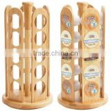 25-Hole Brewing Cups Rotating Bamboo Rack 2015 new design bamboo coffee pod storage Coffee capsules pot holder wholesale