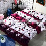 new design leaf printed sanding handmake home and hotel use High quality cotton korean bedding set