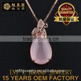 hot sale jewellery set 925 sterling silver Rose Gold 18K gold plated precious natural Crystal Pendant necklace Factory wholesale