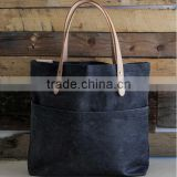 Custom waxed denim leather tote bag with pockets                                                                         Quality Choice
