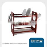 Superior quality beautiful design 3-tier wooden dish rack