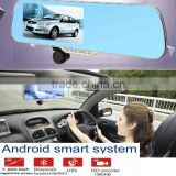 "Andriod systerm WIFI 5"" inch blue 1080p car driving mirror recorder with wifi backup camera GPS"