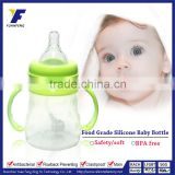 Wholesale BPA-free Transparent Baby Silicone Feeding Bottle With Silicone Nipple and Handle