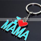 New Fashion Gift Key chains With I Love MAMA Key Chain Oil Paint Metal Key Chain Blue Souvenir