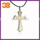 Fashion Punk Rock Mens 316L Silver titanium Steel Polished Chain Cross Necklaces Pendants