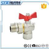 "ART.10211/2"" 3/4"" 1"" NPT/BSP male to female thread union forged brass body sand blast nickel plated 90 degree angle ball valve"