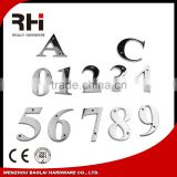 Modern manufacture metal door numbers and letters design,Polished MIRROR color door numbers