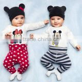 2016 Spring Autumn Baby Clothing Set Cute Style Boys Girls Jumpsuit Cotton Long-sleeved Romper+Hat+Pants 3pc kids clothes suit