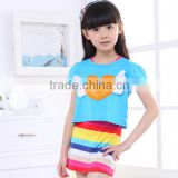 Blue color short sleeve dress, rainbow dress for girl, heart angel skirt for girls