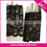 Flower Pattern Black Lace Summer Fingerless Gloves