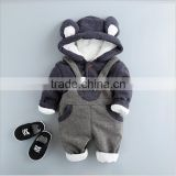 Alibaba website custom wholesale 100% cotton baby boy suspender winter clothes hoodies suit