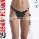 Rivet chain erotic G-string knickers sexy T back crotchless leather thong for women