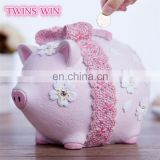 China factory supply Resin cartoon gift for girls fashion Lucky pink pig money box saving bank wholesale Kawaii pig piggy bank