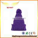 High Quanlity Warm Custom Purple Winter Hats with ball