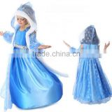 Hooded frozen girl dress flower girl dress Queen Elsa Cosplay Costume Party Dress