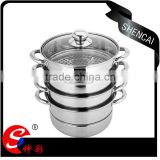 caitang shencai stainless steel 4layer steamer pot with glass lid cover