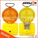 yellow led road safety warning barricade light