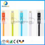 High quality Remax 2 in 1 usb cable with led light usb cable for iphone and android device