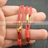 LFD-B0014 ~ New Design Red Sheepskin High Quality Braided Multilayer Leather Cords Bracelets & bangles Charm Women Jewelry