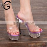 Summer Sexy Sandalias Mujer Stylish Plus Size Clear 14cm Super High Heels Shoes Platform Sandals Pumps