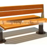 Wood with Steel Frame Garden Park Leisure Bench, with Back and Armrest chair