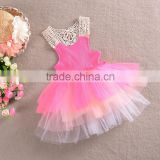 2016 girls summer princess dresses children cute floral baby clothing lace summer cloths SD--8