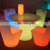 LED plastic cheap wine barrel bar table sets / led light bar table and chairs