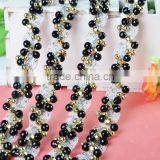 wholesale fashion special silver thread and black beaded trimming WTP-1346