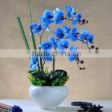 Real touch PU artificial flower blue latex orchid